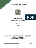 Pedoman Pembelajaran Farmasi Industri (Prodi Apoteker) Syofyan