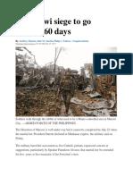 Marawi Siege to Go Beyond 60 Days