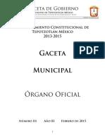 Gaceta Presupuesto 2015