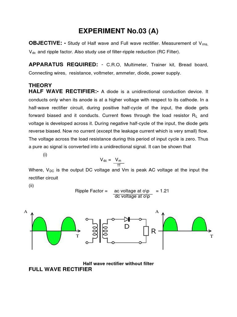 half wave and full wave rectifier rectifier electricity rh scribd com Full Wave Rectifier Graph 1 2 Wave Rectifier Schematic