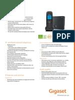 Siemens Gigaset A540iP Analogue & VOIP Cordless Phone Datasheet