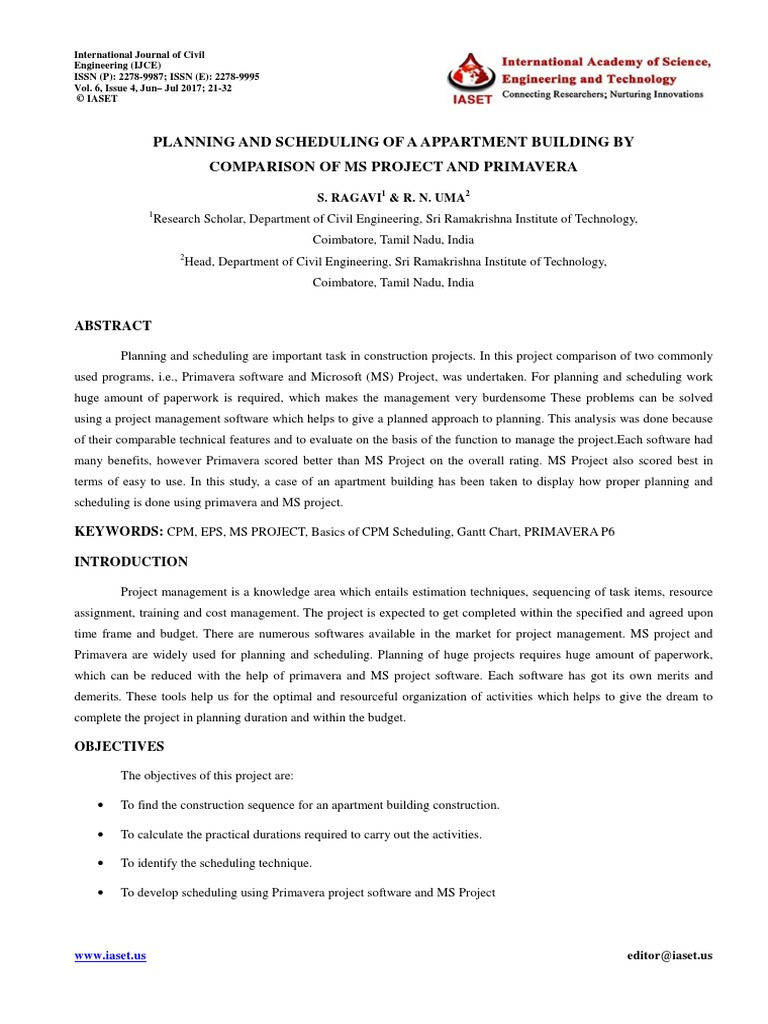 3 ijce planning and scheduling of a appartment building by ijce planning and scheduling of a appartment building by comparison of ms project and primavera scheduling production processes project management nvjuhfo Gallery
