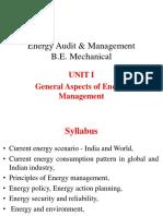 UNIT I General Aspects of Energy Management