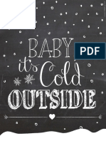 Cold Outside Chalkboard Print