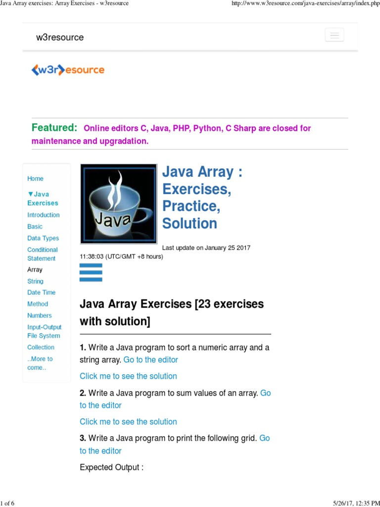 Java Array Exercises Array Exercises W3resource Matrix