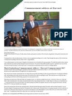 Mark Zuckerberg's Speech as Written for Harvard's Class of 2017 _ Harvard Gazette
