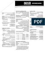 Especificaciones tecnicas Motoniveladora CASE 865B