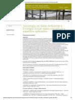 Sociologia Do Meio Ambiente e Ecologia Social_ Base Conceitual e Aspectos Aplicados