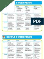 2 Week Menus and Food Group Content