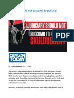 Judiciary should not succumb to political skulduggery.docx