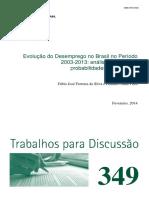 Artigo. Desemprego Brasil 2003.2013