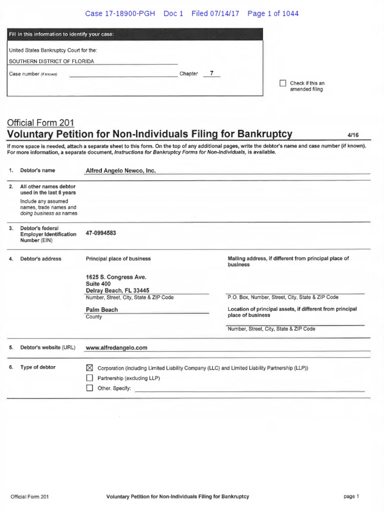 67eb7905c4 Alfred Angelo Ch 7 Filing | Chapter 11 | Bankruptcy