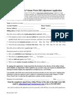 High Volume Water Bill Adjustment Application