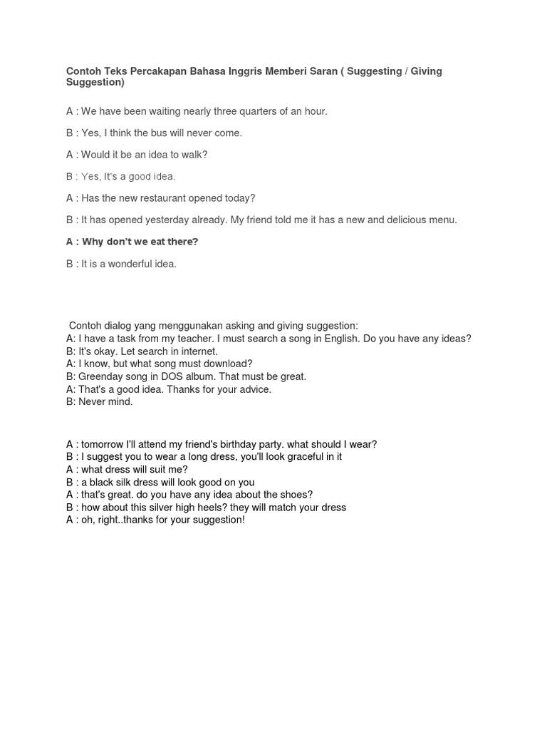Contoh Teks Percakapan Bahasa Inggris Memberi Saran Tita