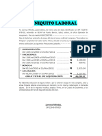 Finiquito Laboral Ejemplo