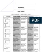 Research Rubric - Any Discipline