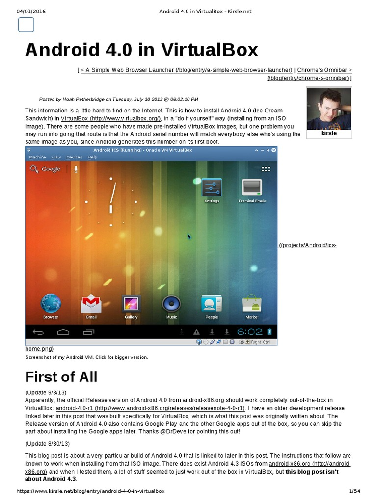 Android 4 0 in VirtualBox - Kirsle | Android (Operating System