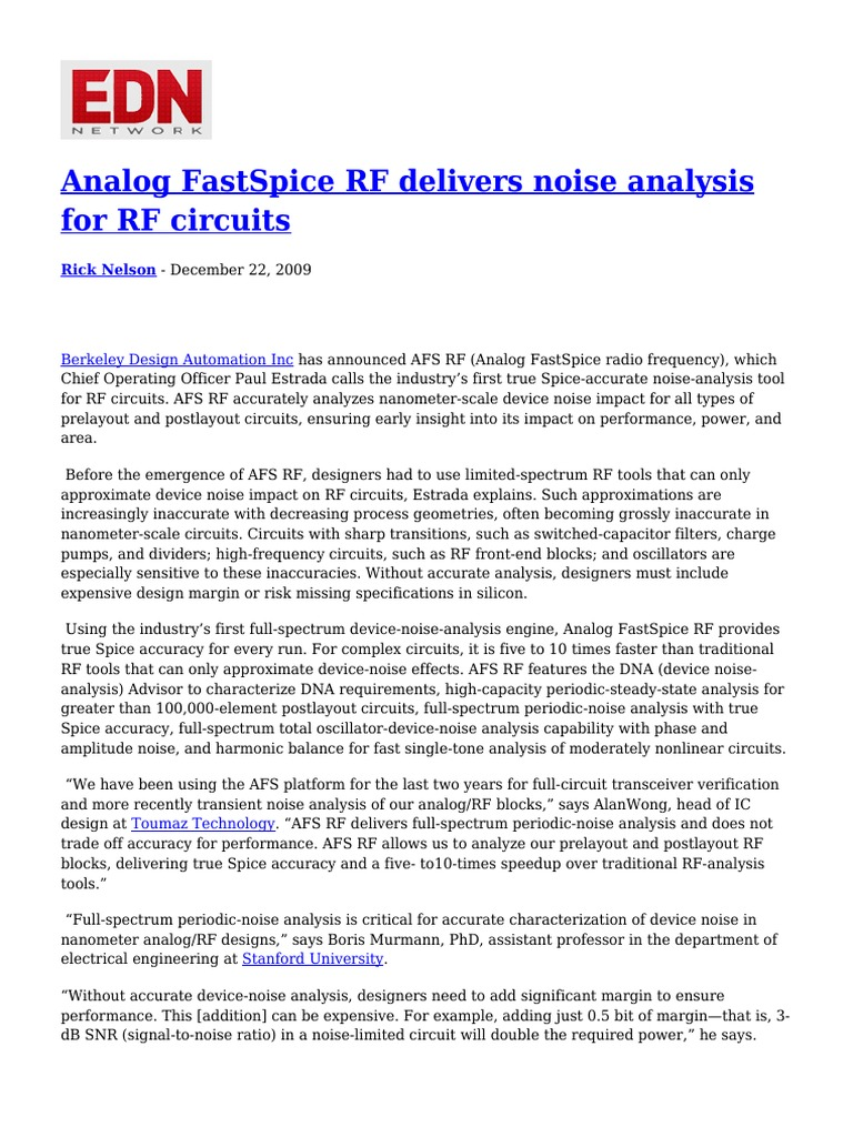 Analog FastSpice RF Delivers Noise Analysis for RF Circuits | Spice