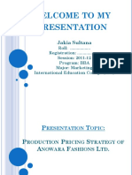 Production Pricing Strategy of Anowara Fashions Ltd