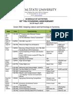 93rd Anniv Schedule