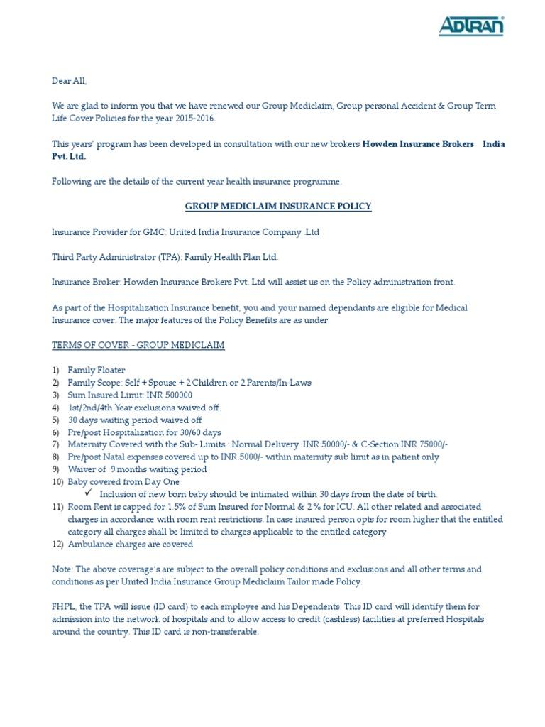 Insurance Policy Overview_GMC, GPA, GTL | Infertility