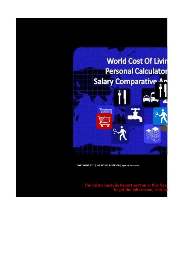 world cost of living calculator  u0026 salary analysis report