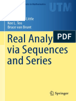 Real Analysis via Sequences an Series. Charles Little, Teo Kee, Bruce Van Brunt