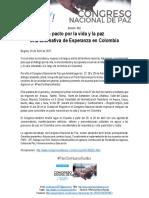 Boletín 002 Llega Congreso Nacional de Paz a Lo Largo y Ancho Del Territoio Nacional
