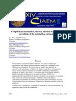 CCompetencias Matemáticas, Diseño y Selección de Tareas Para El Aprendizaje de Las Mate.