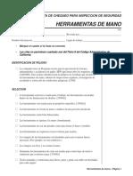 Walk Around Checklist - Hand Tools - Spanish