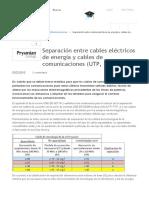Separación Entre Cables Eléctricos de Energía y Cables de Comunicaciones (UTP, FTP..
