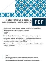 Sejarah Pendidikan Al-Quran & Hadis Di Malaysia