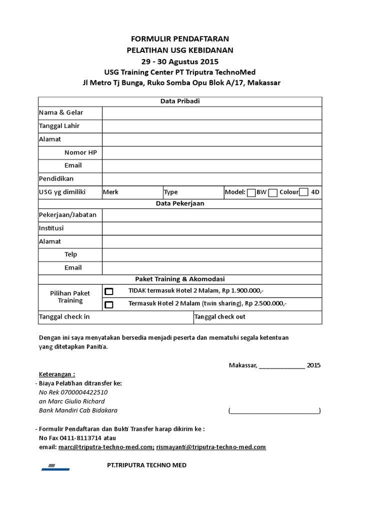 Form Pendaftaran Training Usg