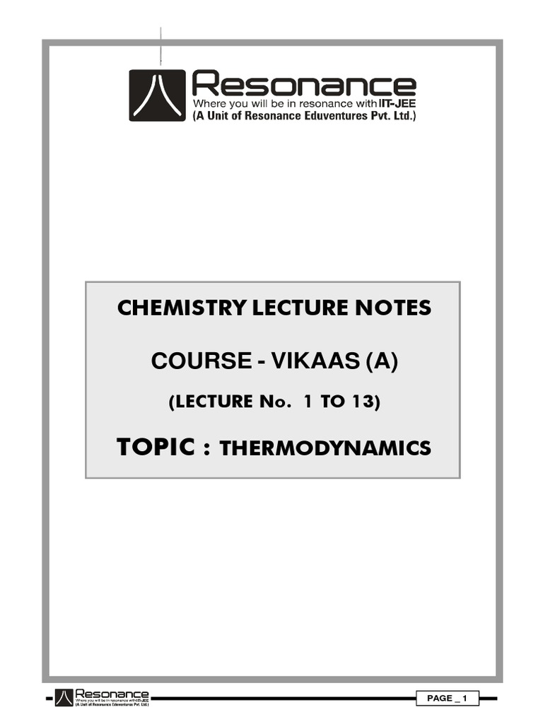 ThermoDynamics Lecture Notes | Thermodynamic Equilibrium | Entropy