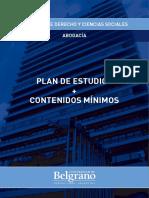 Universidad de Belgrano, Carrera de Abogacía - Contenidos Mínimos 2017
