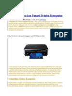 Pengertian Dan Fungsi Printer Komputer