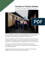 Probe Team Formed on Yolanda Shelters