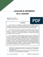 La educacion de Enfermeria en el Ecuador