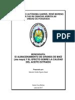 El Almacenamiento de Granos de Maíz (Zea Mays) y El Efecto Sobre La Calidad Del Aceite Extraído