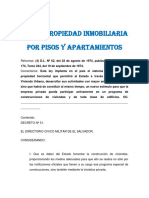 Ley de Propiedad Inmobiliaria Por Pisos y Apartamientos