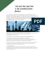 Razones Por Las Que Las Empresas de Construcción Pierden Dinero