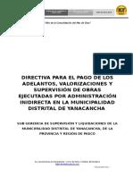 Normas y Procedimientos Para El Pago de Adelantos, Valorizaciones y Supervisión Deobras Contrata - Mdy - Agosto 2016