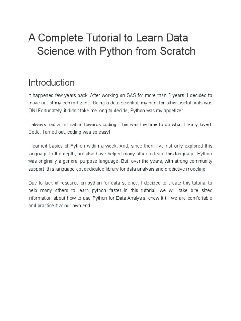 A Complete Tutorial to Learn Data Science with Python from