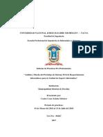 Modelo de informe de practicas pre profesionales UNJBG
