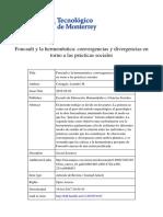 Foucault y La Hermenéutica. Convergencias y Divergencias en Torno a Las Prácticas Sociales