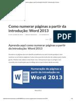 Como Numerar Páginas a Partir Da Introdução_ Word 2013 - Administração e Sucesso