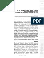 A TOPONÍMIA COMO CONSTRUÇÃO HISTÓRICO-CULTURAL