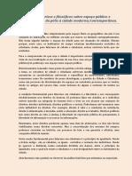 Elementos Históricos e Filosóficos Sobre Espaço Público e Espaço Privado Da Pólis à Cidade Modernacontemporânea.