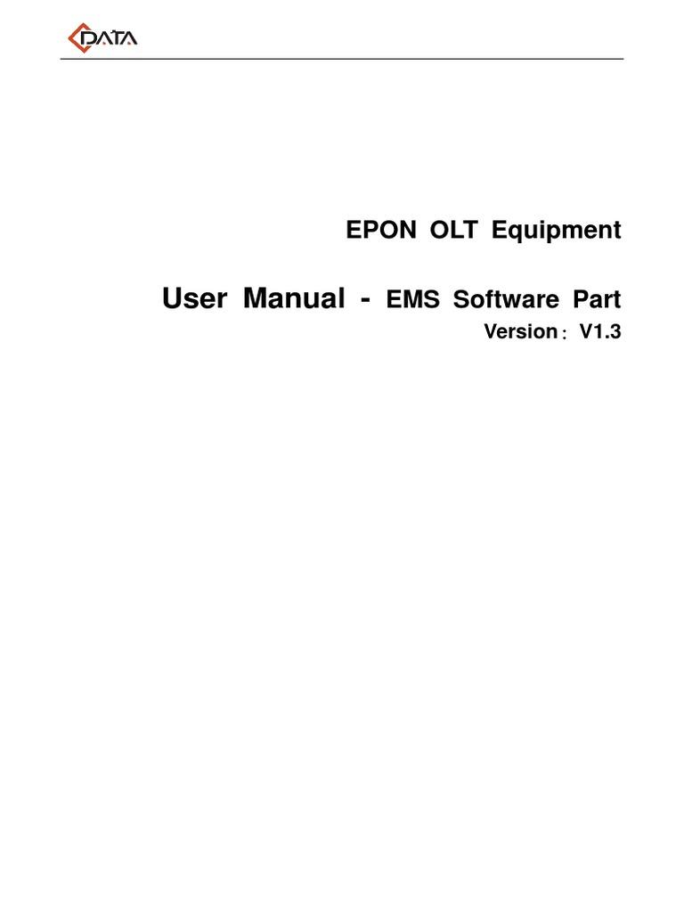 Epon Olt User Manual-ems Part(Fd1104b,Fd1104s,Fd1104sn,Fd1108s