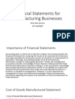 Financial Statements for Manufacturing Businesses